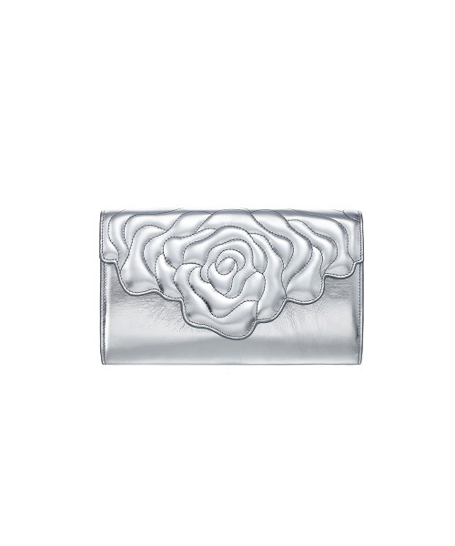Aristotle rose bag - clutch yellow silver